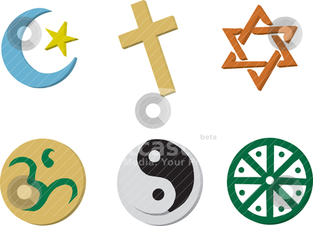 Religious Icons stock vector clipart, Vector Illustration of 6 religious icons in 3D style. by Basheera Hassanali