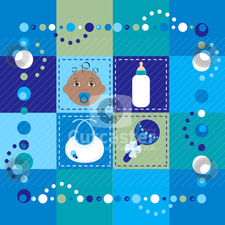 Baby Boy Quilt 2 stock vector clipart, Vector Illustration of baby boy quilt 2. Patchwork or sewing, background. by Basheera Hassanali