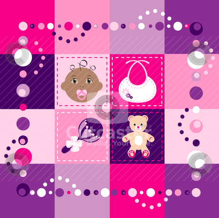Baby Girl Quilt stock vector clipart, Vector Illustration of baby girl quilt. Patchwork or sewing, background. by Basheera Hassanali