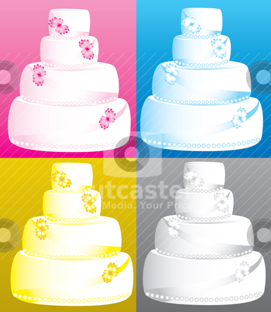 wedding cakes pink blue yellow gray white grey