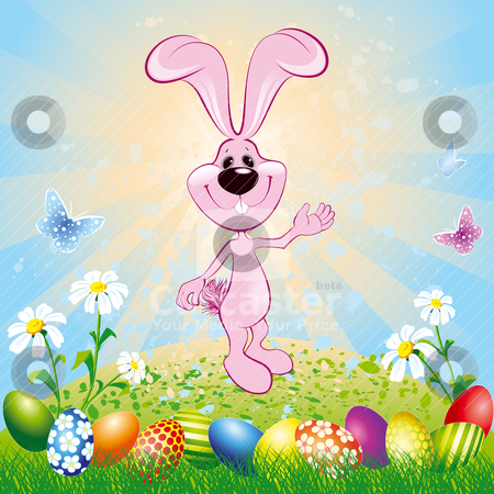Easter Bunny On Meadow stock vector clipart, Easter bunny on green meadow with easter eggs, editable vector illustration  by julja