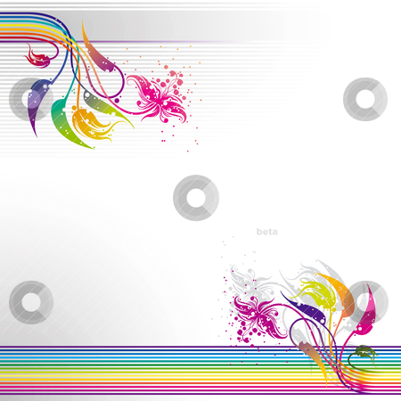 Abstract colorful striped floral background stock vector clipart, Abstract colorful striped background with floral design elements, editable vector illustration by julja