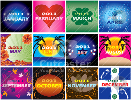 2011 Decorative themed Calendars stock vector clipart, Twelve 2011 Calendars with space for planning. Very decorative and themed by Basheera Hassanali