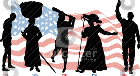 Black History Timeline stock vector clipart, Vector Illustration timeline for Black History month with American flag. by Basheera Hassanali