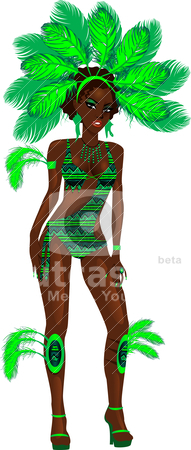 Carnival Green Girl stock vector clipart, Vector Illustration for carnival costume or las vegas showgirl. by Basheera Hassanali