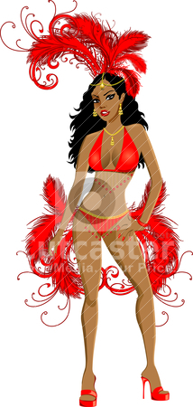 Carnival Red Girl stock vector clipart, Vector Illustration for carnival costume or las vegas showgirl. by Basheera Hassanali