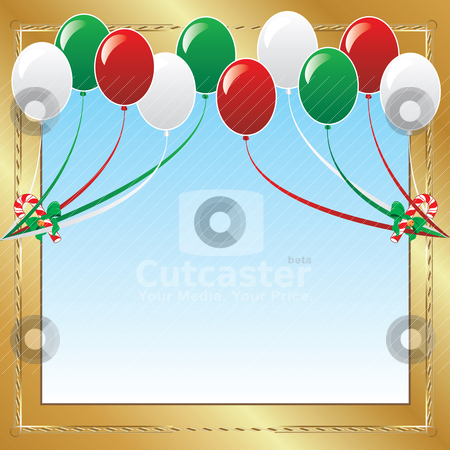Balloon Background 2 stock vector clipart, Vector Illustration of 10 Christmas balloons with candy canes background and a place for text or imagery.  by Basheera Hassanali