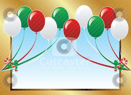 Balloon Background Frame stock vector clipart, Vector Illustration of 10 Christmas balloons with candy canes background and a place for text or imagery.  by Basheera Hassanali