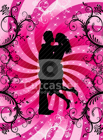 Valentine Heart Background Couple stock vector clipart, Vector Illustration of couple kissing on Valentine Background with hearts and scrolls. by Basheera Hassanali