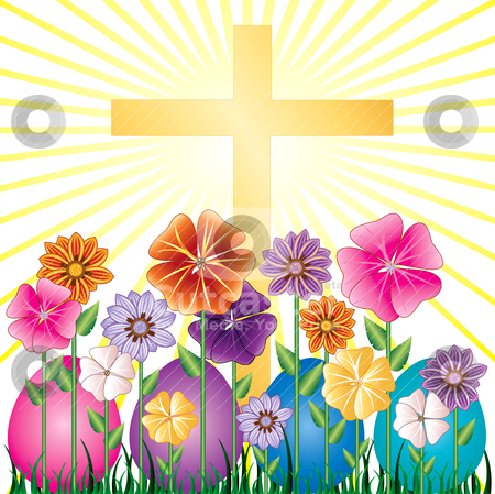 Easter Egg Garden stock vector clipart, Vector illstration of a Cross and Easter Resurrection Egg Garden with grass. by Basheera Hassanali