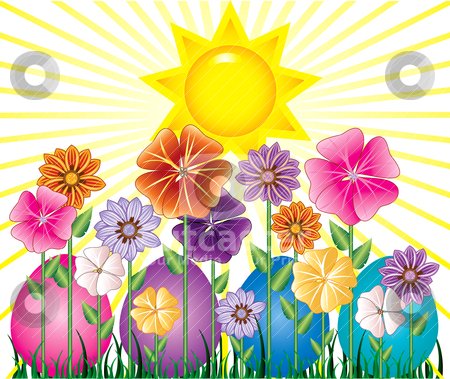 Easter Egg Garden stock vector clipart, Vector illstration of a Spring Day with Sunshine and Easter Egg Garden with grass. by Basheera Hassanali