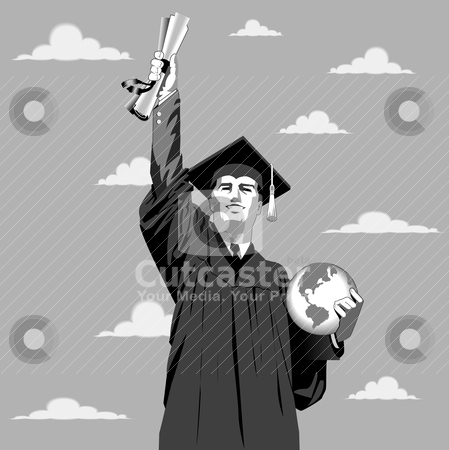Graduation Boy stock vector clipart, Vector illustration of a young man reaching for the sky with his certificate. by Basheera Hassanali