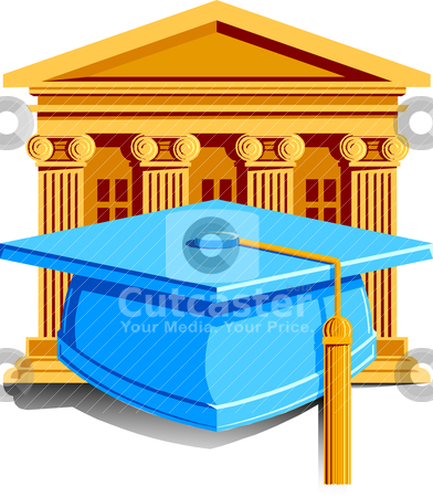 Graduation Icon stock vector clipart, Vector Illustration of a cap with tassle for graduation with school in the background. by Basheera Hassanali