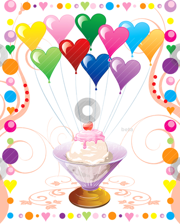 Heart Balloons Icecream stock vector clipart, Vector Illustration can be used as a book cover, card or anything you choose. There is room for your text. by Basheera Hassanali