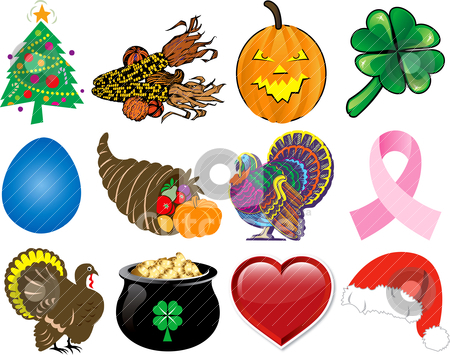 Holiday Icon Set 2 stock vector clipart, Vector Illustration. Set of 12 Holiday Icons. by Basheera Hassanali
