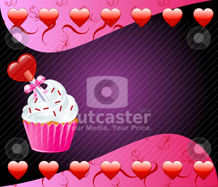Heart Cupcake stock vector clipart, Vector Valentine Background with Heart cupcake. by Basheera Hassanali