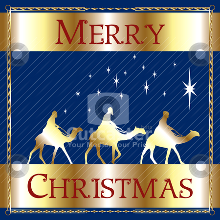 Merry Christmas Blue Wisemen stock vector clipart, Vector Illustration of a Merry Christmas Blue Wisemen. by Basheera Hassanali