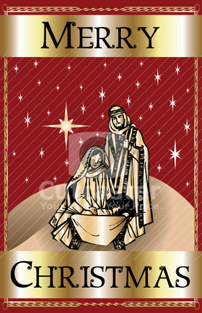 Merry Christmas Red Nativity stock vector clipart, Vector Illustration of a Merry Christmas Red Nativity. by Basheera Hassanali