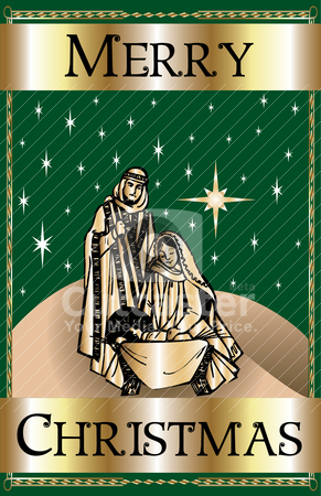 Merry Christmas Green Nativity stock vector clipart, Vector Illustration of a Merry Christmas Green Nativity. by Basheera Hassanali