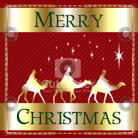 Merry Christmas Red Wisemen stock vector clipart, Vector Illustration of a Merry Christmas Wisemen. by Basheera Hassanali