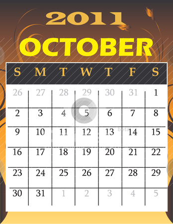 October 2011 stock vector clipart, Vector Illustration of 2011 theme monthly calendars. by Basheera Hassanali