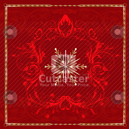 Red Square Snowflake stock vector clipart, Vector Illustration of Red Square Snowflake. by Basheera Hassanali