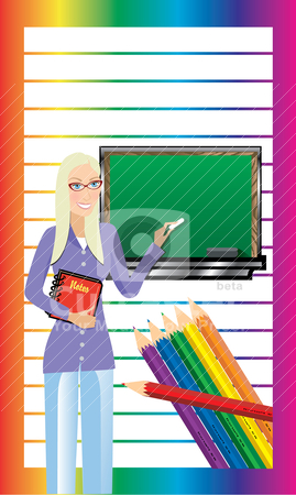 Teacher Business Card 2 stock vector clipart, Vector of Business Card. Teacher with Chalkboard and notebook. There is room for text. See others in this series. by Basheera Hassanali