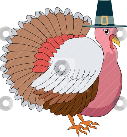 Turkey Pilgrim stock vector clipart, Vector illustration of a Turkey Pilgrim with hat. by Basheera Hassanali