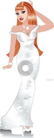 White Wedding Gown 2 stock vector clipart, Formal Gown Women, can be used for Weddings, Beauty Pageants, Parties, Christmas, Valentines Day, St. Patricks Day, Prom or more. by Basheera Hassanali