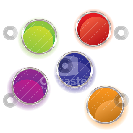 Paint pots stock vector clipart, Abstract brightly coloured paint pots collection with shadow by Michael Travers