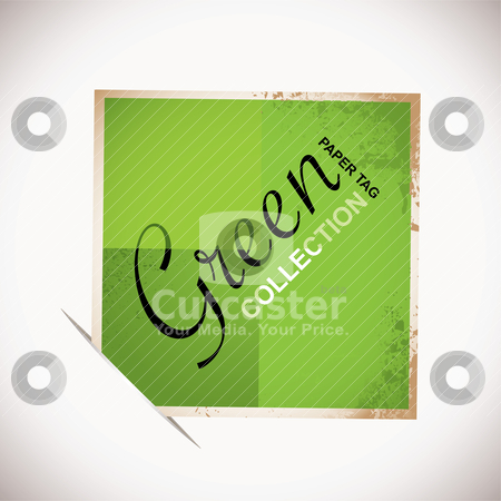 Paper tag green stock vector clipart, Square grunge paper tag with copy space by Michael Travers