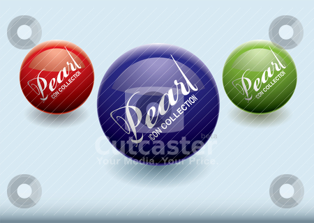 Pearl icon blue stock vector clipart, Modern concept with colourful pearls with copyspace by Michael Travers