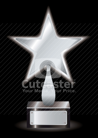 Silver star award trophy stock vector clipart, Metal silver star award with space for your own text by Michael Travers