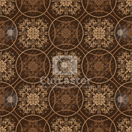 Retro brown floral pattern stock vector clipart, Retro styled seventies wallpaper seamless fit background pattern by Michael Travers