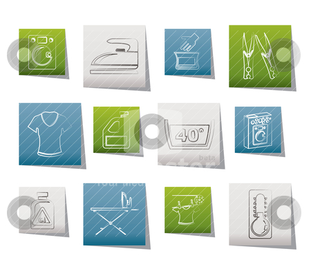 Washing machine and laundry icons stock vector clipart, Washing machine and laundry icons - vector illustration by Stoyan Haytov