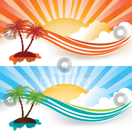 Summer banners stock vector clipart, Summer banner set, vector illustration by Milsi Art