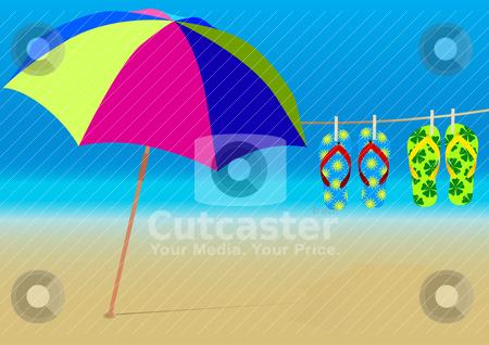 Summer Background stock vector clipart, Summer Background - Beach Umbrella and Hanging Flip-Flops on Empty Sandy Beach by JAMDesign