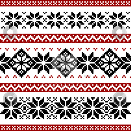 Nordic pattern stock vector clipart, Nordic or norwegian pattern with snowflakes, black and red silhoeuttes isolated on white background. by Ela Kwasniewski