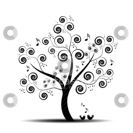 Music tree stock vector clipart, Abstract art tree with music notes and lovely birds by Ingvar Bjork