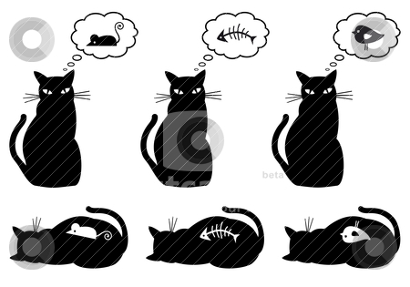 Hungry and bellyful cat, vector stock vector clipart, cat dreaming about eating, vector illustration by Beata Kraus