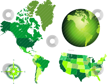 America map and globe stock vector clipart, america map and globe by zabiamedve