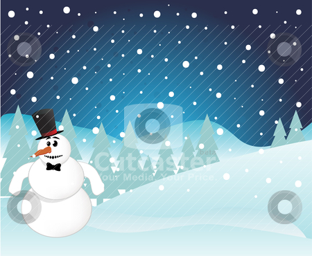 Snowman on Christmas Background stock vector clipart, Snowman on Christmas Background by zabiamedve