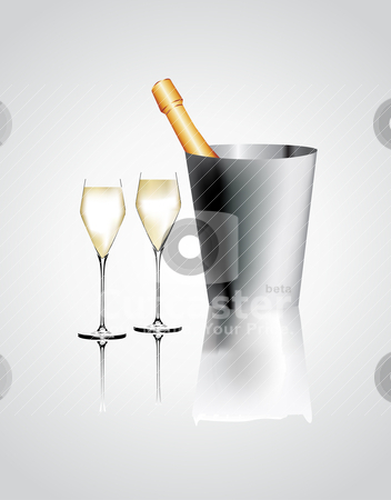 Vector illustration. Two glasses of champagne and bottel.  stock vector clipart, Vector illustration. Two glasses of champagne and bottel.  by zabiamedve