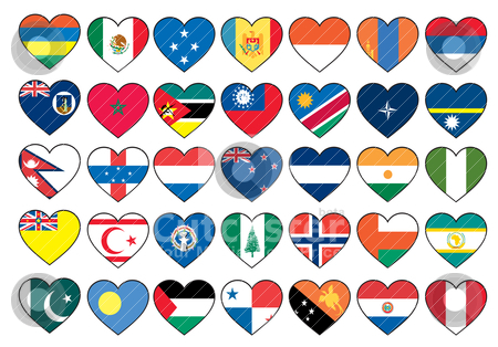 Heart flags set  stock vector clipart, heart flags set  by zabiamedve
