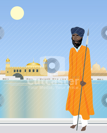Holy pool stock vector clipart, an illustration of a sikh temple guard in front of a holy pool with temple and buildings under a hot blue sky by Mike Smith