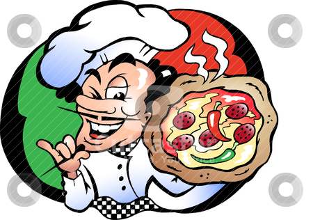 Hand-drawn Vector illustration of an Italien Pizza Baker   stock vector clipart, Hand-drawn Vector illustration    by DrawShop - Poul Carlsen