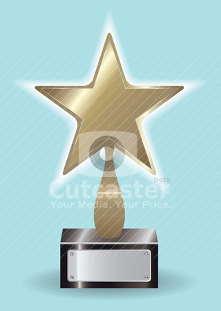 Bronze star Award ytophy stock vector clipart, Third place trophy in bronze with blue background and blank name plate by Michael Travers
