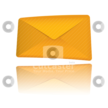 Orange modern envelope stock vector clipart, Closed modern golden orange envelope with reflection by Michael Travers