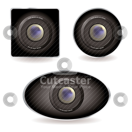 Web cam collection stock vector clipart, Collection of three web cams with zoom lens by Michael Travers