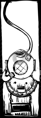 Diving Helmet stock vector clipart, mark V classic diving helmet in a woodcut style. by Jeffrey Thompson